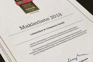 Focus Auszeichnung Maklerliste 2018